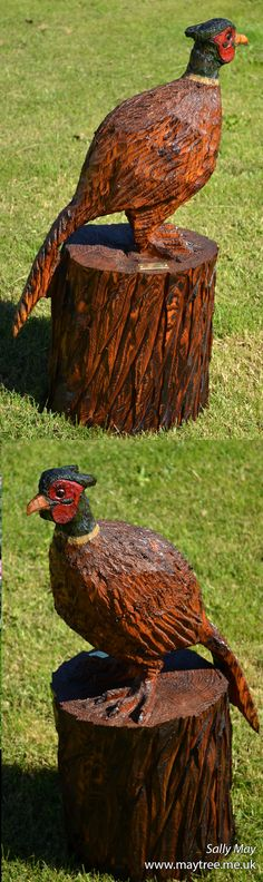 Pheasant wooden chainsaw sculpture by Sally May