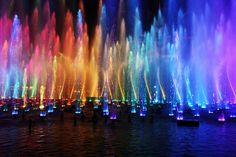 Disneyland/world, I want to see the water light show. Colors Of The World, Taste The Rainbow, Over The Rainbow, Viva Color, Colour Colour, What's My Favorite Color, Favorite Things, Rainbow Water, Color Of Life