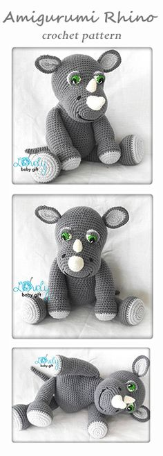 Crochet Pattern - amigurumi rhino pattern, animal crochet, häkelanleitung, haakpatroon, hæklet mønster, modèle crochet https://www.etsy.com/listing/228246244/amigurumi-pattern-rhino-crochet-pattern?ref=shop_home_active_14