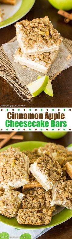 Cinnamon Apple Cheesecake Bars: