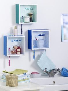 Kids Bathroom- not this exact look but some variation on this concept would sure free up the minimal counter space in the kids' bathroom