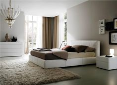 contemporary white bed with headboard
