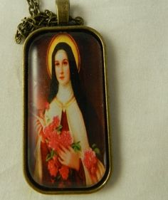 St Therese Glass Tile  Bronze Pendant Necklace