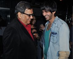 Subhash Ghai with Kartik at the party