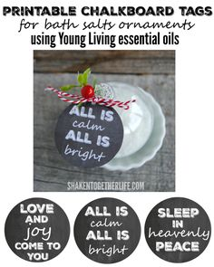 Deliciously scented homemade bath salts fill an ornament tied with a printable tag and festive greenery and berries - these are the PERFECT thoughtful gifts for teachers, coworkers, family and friends!!