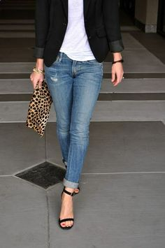 Cuffed denim   white tee   blazer.