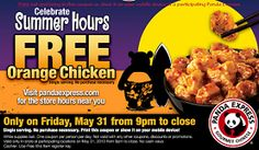 FREE Orange Chicken at Panda Express on May 31st on http://hunt4freebies.com