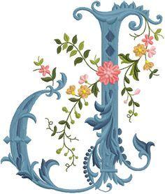 alfabeto celeste con flores J