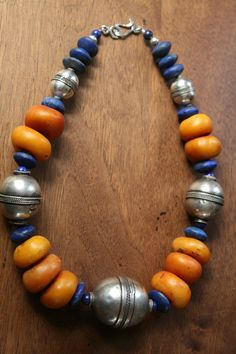 lapis lazuli,amber beads and siver from afghanistan Chunky Jewelry, Amber Jewelry, Tribal Jewelry, Stone Jewelry, Wire Jewelry, Jewelry Art, Beaded Jewelry, Jewelery, Jewelry Necklaces