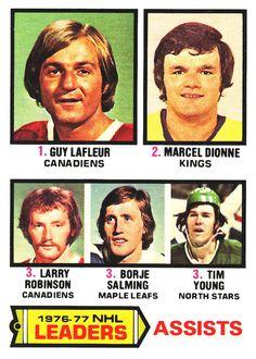 O-Pee-Chee Leaders: Assists Guy Lafleur Marcel Dionne Larry Robinson (Borje) Börje Salming Tim Young Marcel Dionne, Hockey Cards, Toronto Maple Leafs, Larry, Nhl, Blond, Guys, Flower, School