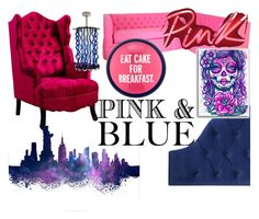 """Pink & Blue Color Challenge"" by jessieholloway13 ❤ liked on Polyvore featuring interior, interiors, interior design, home, home decor, interior decorating, Universal Lighting and Decor, Venini and Kate Spade"