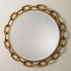 Robust oval rings of iron connect to create the oversized, round Linked Wall Mirror from Global Views. Ideally suited for foyers, dining rooms and living rooms, this remarkable frame reflects a stunning gold finish, achieved with a multi step process. Mirror Wall Collage, Wall Mirror With Shelf, Wall Mirrors Entryway, Black Wall Mirror, Rustic Wall Mirrors, Contemporary Wall Mirrors, Decorative Mirrors, Modern Wall, Framed Wall