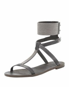 Flat Sandal with Ball Chain Trim, Charcoal by Brunello Cucinelli at Bergdorf Goodman.