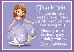 Sofia the First Birthday Thank You Card - Digital File via Etsy