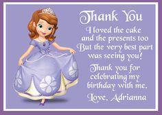 Sofia the First Birthday Thank You Card - Digital File via Etsy