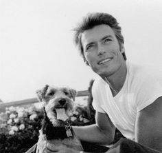 """""""Clint Eastwood and his dog photographed by Wallace Seawell, c. 1950s. """""""