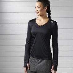 haut à manches longues Reebok, Courses, Sportswear, Long Sleeve Shirts, T Shirt, Running, Blouse, Mens Tops, Style