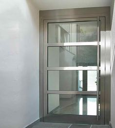 awesome Privileg stainless steel entrance doors - Sliding Glass Door by www. Entry Doors With Glass, Exterior Doors With Glass, Front Doors With Windows, Glass Front Door, Sliding Glass Door, Front Door Entryway, Modern Front Door, Entrance Doors, House Entrance