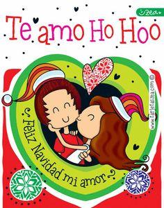 Amor en navidad-Caro y David besito de navidad © ZEA www.tarjetaszea.com