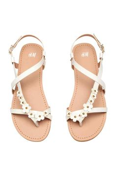 Sandals with flowers - White - Kids | H&M GB