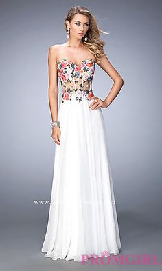 Strapless White La Femme Dress with Corset Bodice at PromGirl.com