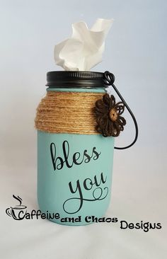 Mason Jar Tissue Holder, Bless You Tissue Jar, Tissue Holder, Kleenex Holder by CaffeineChaosDesigns on Etsy - Crafts Are Fun Pot Mason Diy, Mason Jar Gifts, Wine Bottle Crafts, Jar Crafts, Etsy Crafts, Mason Jar Projects, Diy Hanging Shelves, Mason Jar Lighting, Mason Jar Lamp