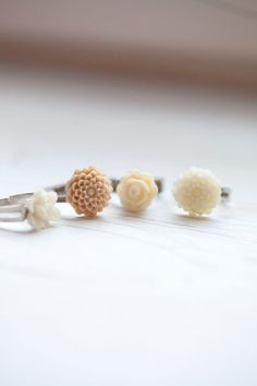 Cream Flower Ring  Adjustable  Romantic  Summer by WhiteLilyDesign, $9.00