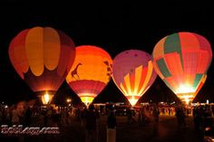 Pittsfield, NH Rotary Hot Air Balloon Rally. Night glow.