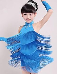 Latin Dance Outfits Children's Performance Spandex Tassel(s) 1 Piece  Latin Dance Sleeveless Natural Dress – USD $ 30.00