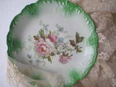 Vintage Grindley Pink Green Floral Plate by jenscloset on Etsy, $16.50