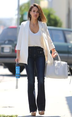 She Means Business from Jessica Alba's Street Style  Does she ever miss a beat? Nope! The actress continues her style streak with a white blazer paired with 7 For All Mankind trousers.