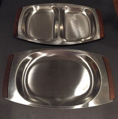 Mid-Century 1960's Danish Set Of Two Sided Serving Stainless Steel Trays w/ Teak