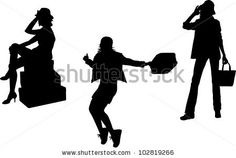Set of women with bags and luggage silhouettes - stock photo