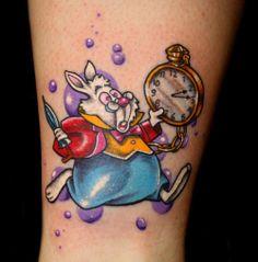 disney tattoos alice in wonderland rabbit White Rabbit Alice In Wonderland, Alice And Wonderland Tattoos, White Rabbit Tattoo, Rabbit Tattoos, Love Tattoos, Picture Tattoos, Tattoos For Women, Tatoos, Color Tattoos