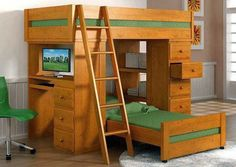 This bunk bed really does have the makings of a great design. on The Owner-Builder Network  http://theownerbuildernetwork.co/wp-content/uploads/2013/08/bunkbedwithloft1.jpg