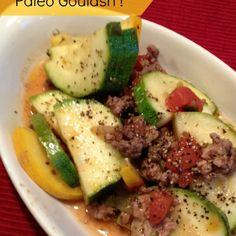 Paleo Goulash Recipe Main Dishes with lean ground beef, pork sausages, zucchini, yellow squash, onion flakes, italian seasoning, cayenne pepper, garlic powder, sea salt, diced tomatoes, water