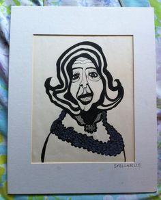 Original Outsider Art: Ethel Merman Portrait