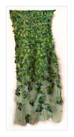 Traveling Flora by Jessie Fair Nuno Felting, Needle Felting, Nuno Felt Scarf, Felted Scarf, Felt Wall Hanging, Creative Textiles, Textiles Techniques, Textile Fiber Art, Felting Tutorials