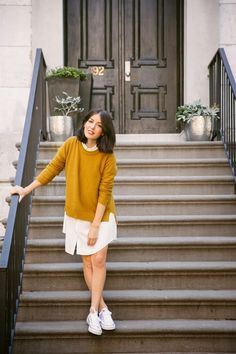 Madewell Texturework mustard sweater + white shirtdress + white Converse | A Cup of Jo
