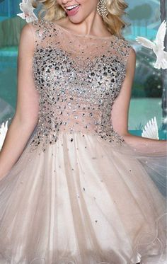 Charming Crystal Beads Sheer Homecoming Dress