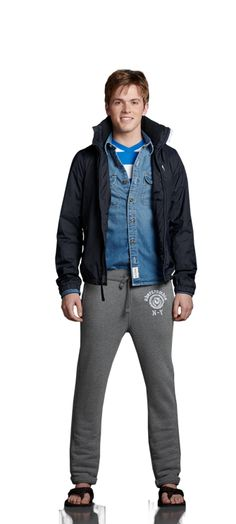 jean shirt and sweatpants and tshirt and jacket