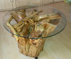 Handmade Coffee Table from Whole Apple Tree Stump Root Wooden Solid Wood Table | eBay
