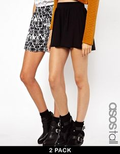 ASOS+TALL+2+Pack+Culottes+In+Plain+and+Abstract+Print