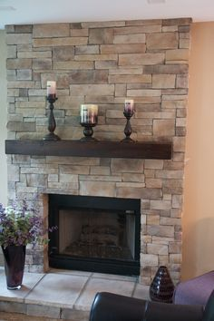 Image result for how to modernize 1960 pink limestone stone fireplace