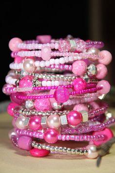 Bazooka Bubble Gum Pink      Women's Beaded  by RedsJewelryLab, $56.99