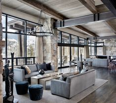 Incredible mountain modern dwelling offers slope-side living in Montana modern-living-room Mountain Home Interiors, Modern Mountain Home, Mountain Homes, Modern Lodge, Farmhouse Style Kitchen, Modern Farmhouse Kitchens, Kitchen Modern, Farmhouse Design, Rustic Farmhouse
