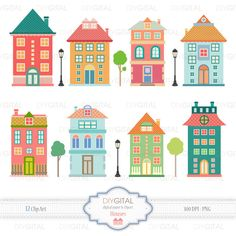 Houses Clip Art Set Printable cliparts for scrapbooking, cards, web graphics - PNG- Inst House Clipart, House Vector, Over The Rainbow, Clipart Png, Clip Art, Cute House, Illustrations, House Illustration, Scrapbooking