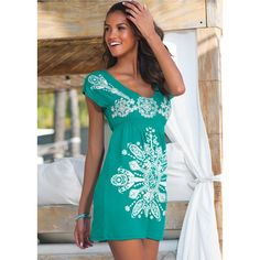 Venus Women's Print Dress Cover-Up ($23) ❤ liked on Polyvore featuring swimwear, cover-ups, blue, venus cover ups, venus swimwear, beach cover up, venus swim wear and swim cover up