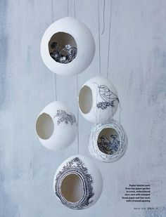 Paper mache over a ballon and cut out hole. Maybe to hang in girls room with fairies inside