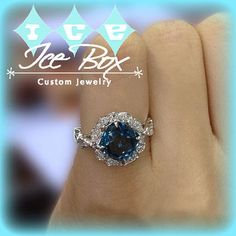London Blue Topaz Engagement Ring 8mm, 3.1ct Cushion Cut in a 14K White Gold